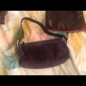 COACH mini purple suede purse